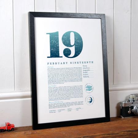 February 19 Birthday Gift Print in Blue