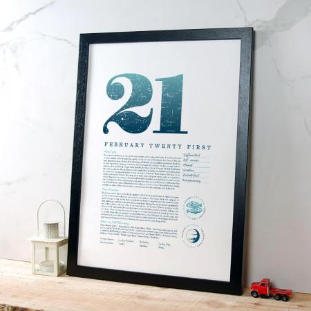 February 21 Birthday Gift Print in Blue