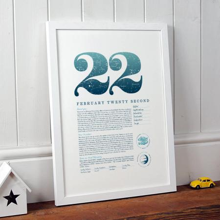 February 22 Birthday Gift Print in Blue