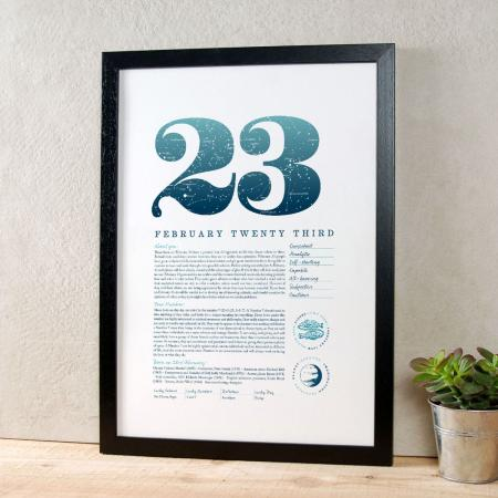 February 23 Birthday Gift Print in Blue