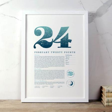 February 24 Birthday Gift Print in Blue