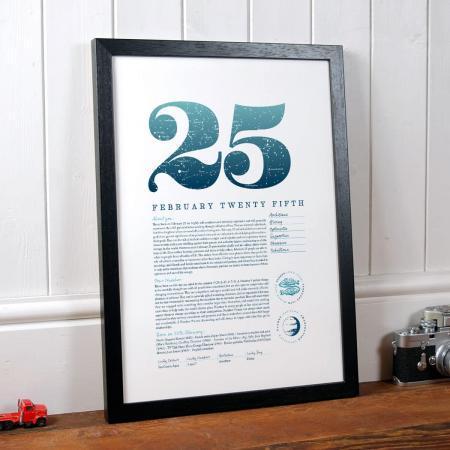 February 25 Birthday Gift Print in Blue
