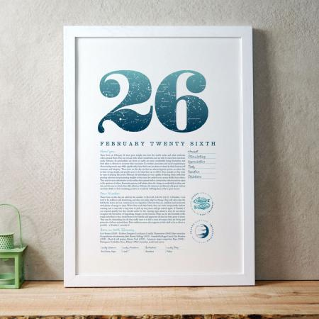 February 26 Birthday Gift Print in Blue