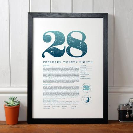 February 28 Birthday Gift Print in Blue