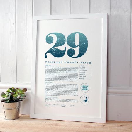 February 29 Birthday Gift Print in Blue