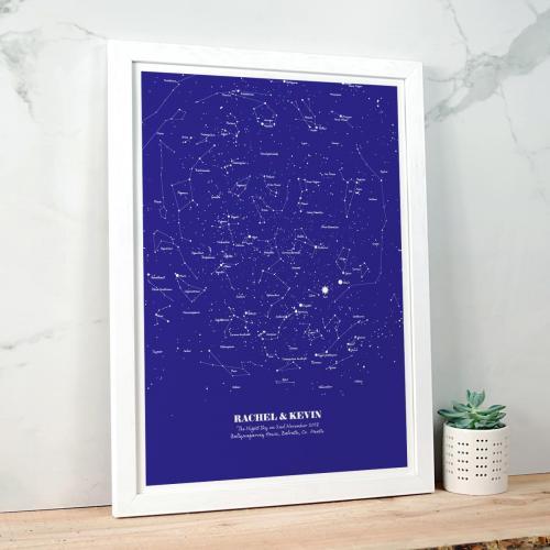 Personalised Star Map Illustration Navy