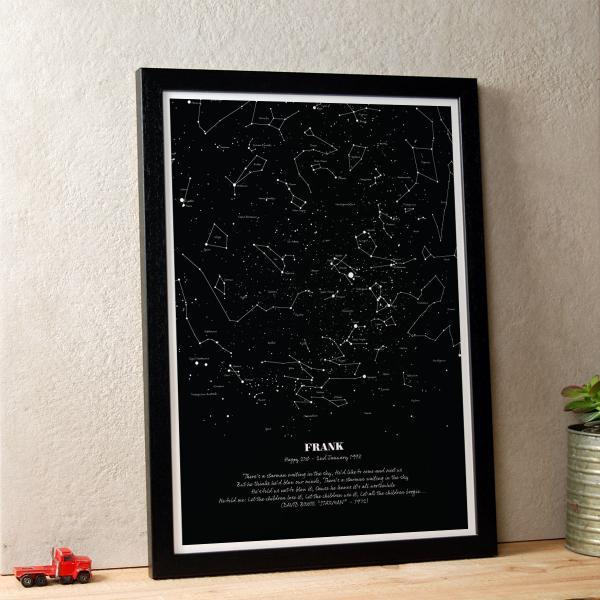 Personalised Star Map Illustration Black