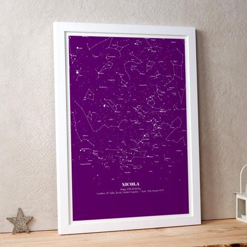 Personalised Map of the Stars Illustration Purple