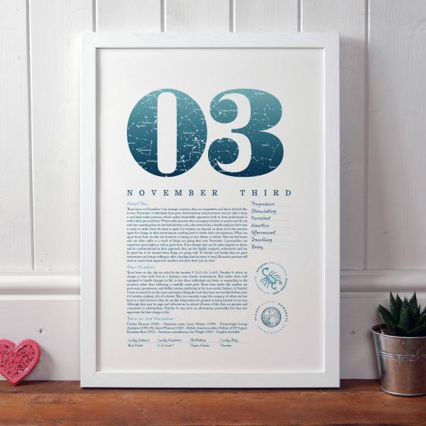 November 3rd Birthday Print Gift